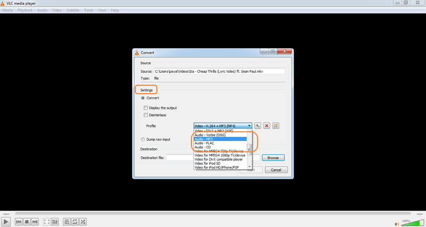 VLC MKV audio converter - step 3