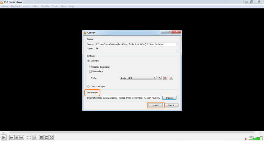 VLC MKV audio converter - step 4