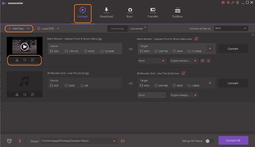 add 3GP files to 3GP to MOV converter