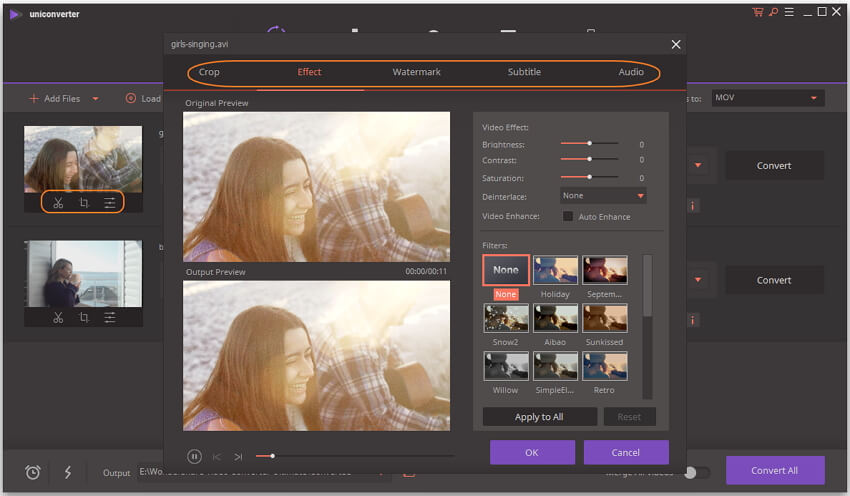 Edit videos before avi to MOV conversion