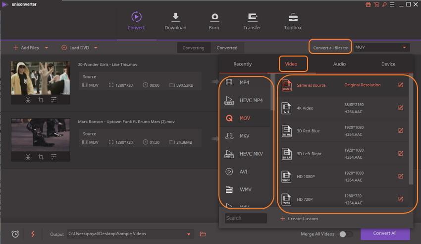 choose MOV output format