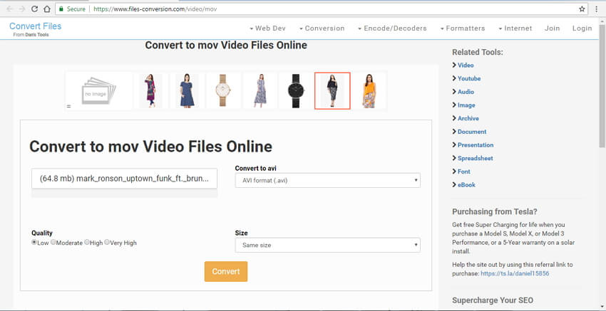 convert mov to avi online with Convert Files