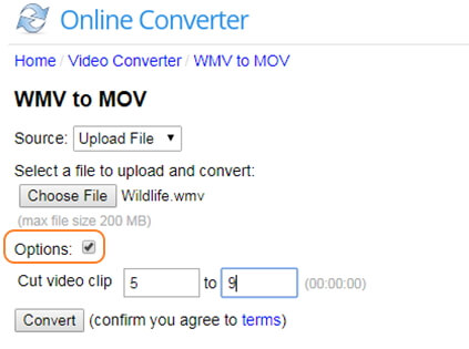 carica un file video wmv per la conversione