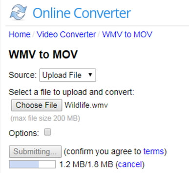 start converting wmv to mov