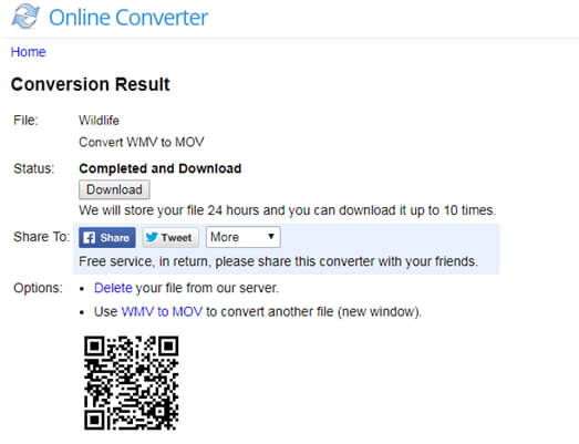 download converted mov file