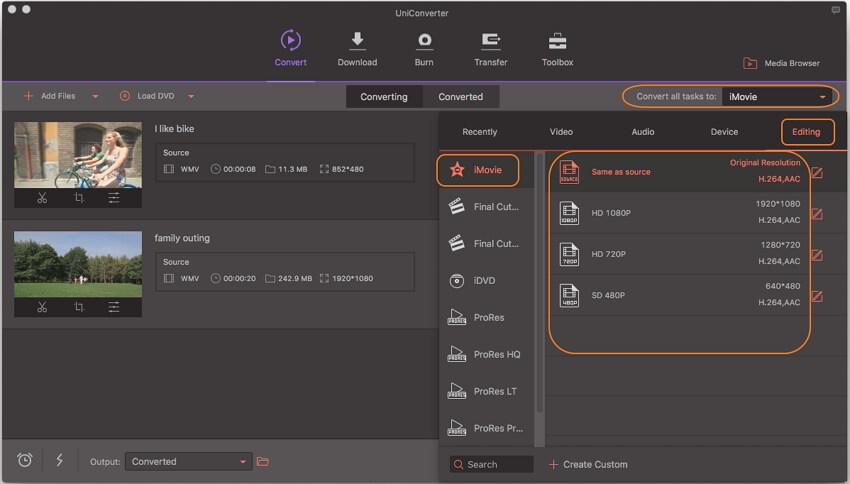 kies iMovie als uitvoerformaat