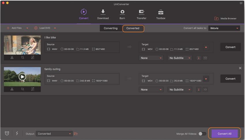 convert MOV to iMovie