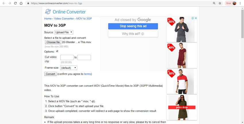 convert mov to 3gp online - Online Converter