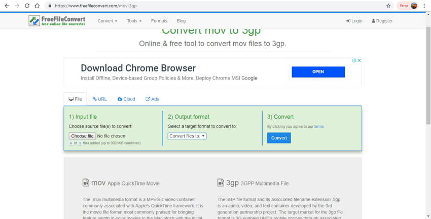 convert mov to 3gp online - FreeFileConvert