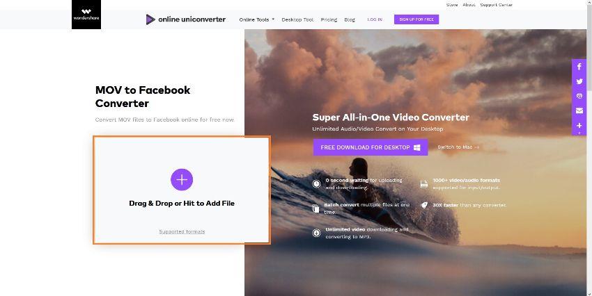 mov to facebook online converter