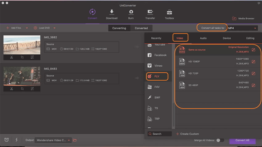 select flv as output format