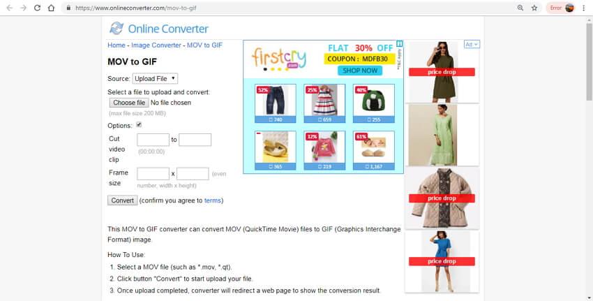 mov in gif online - Online Converter