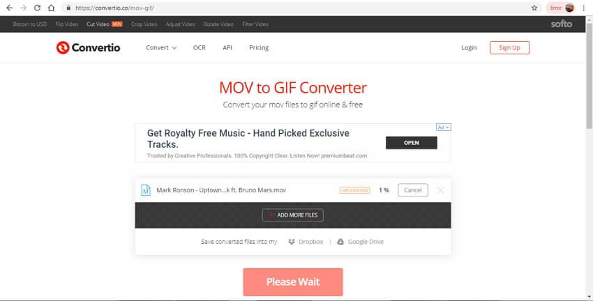 mov in gif online - Convertio