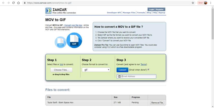 mov to gif online - Zamzar