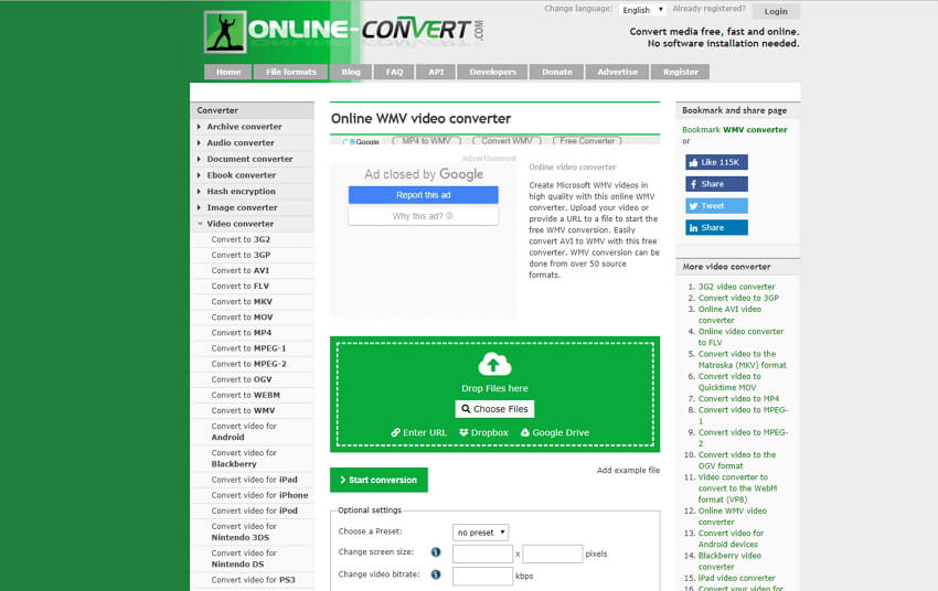 online mov to wmv converter