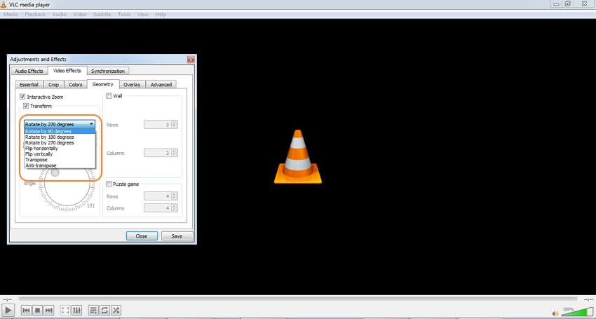 rotate MOV with VLC