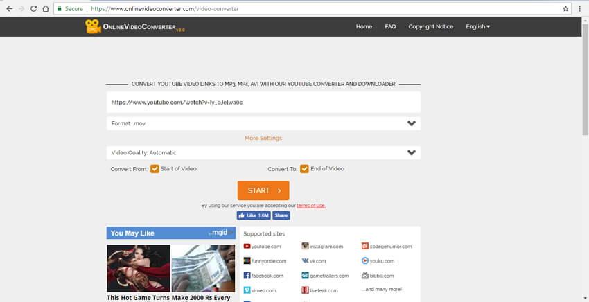 تحويل يوتيوب إلى موف مع Online Video Converter