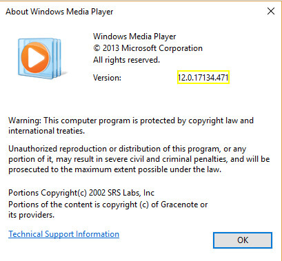 Windows Media Player version for playing .mov files