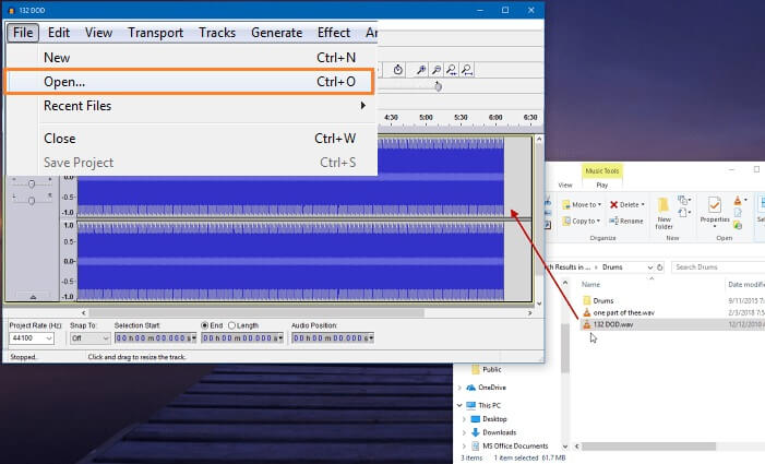 add file to audacity