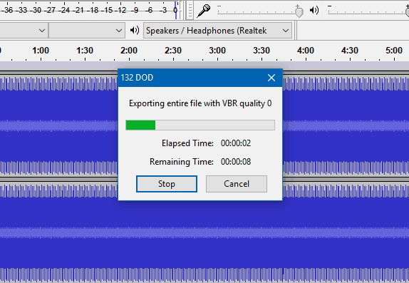 convert audio to mp3 in audacity