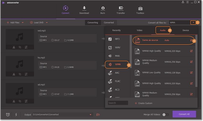 choose Windows Media Player compatible formats