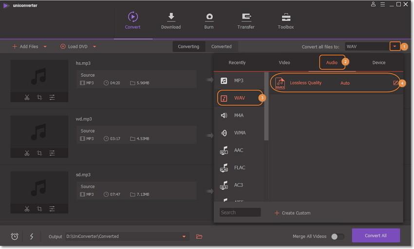 wondershare mp3 to wav conersion-choose wav as output format