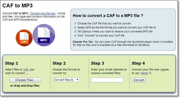 convert CAF to MP3 online-Zamzar