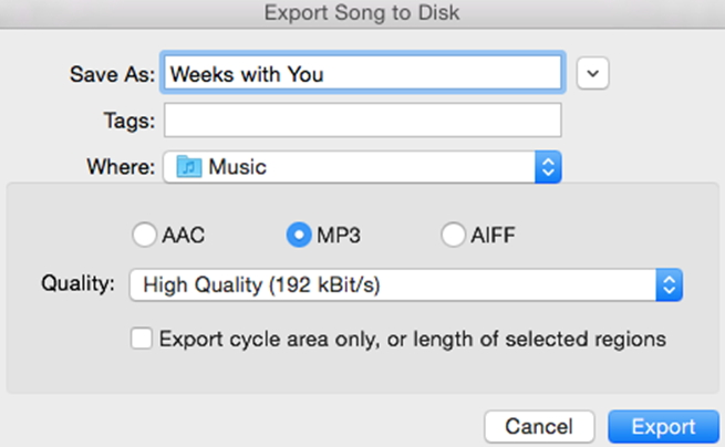 export garageband to mp3