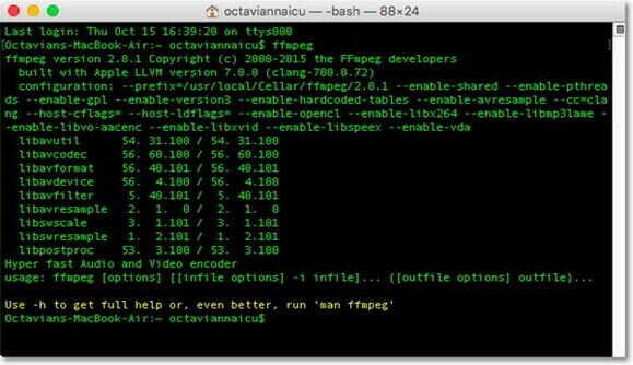 FFmpeg يقوم بتحويل الفيديو إلى MP3 لنظام التشغيل Mac
