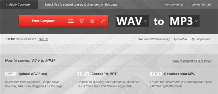 convertire wav in mp3 gratuitamente - convertio