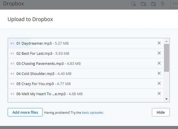 Upload MP3 files to Dropbox