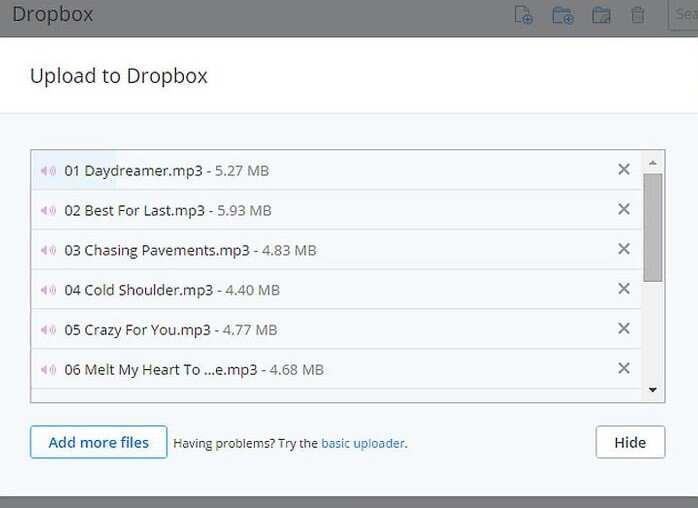 Téléchargez vos fichiers MP3 sur Dropbox