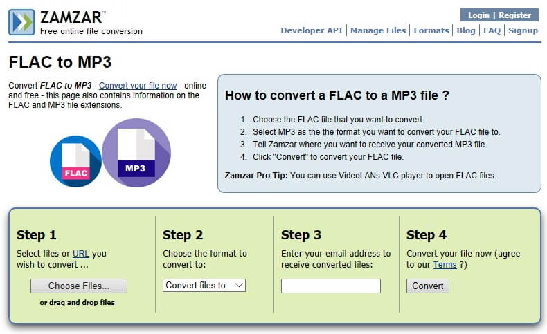 flac to mp3 online converter