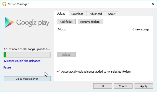 Select to transfer to MP3 with Google music