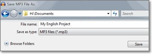 escolha o tipo de arquivo como mp3