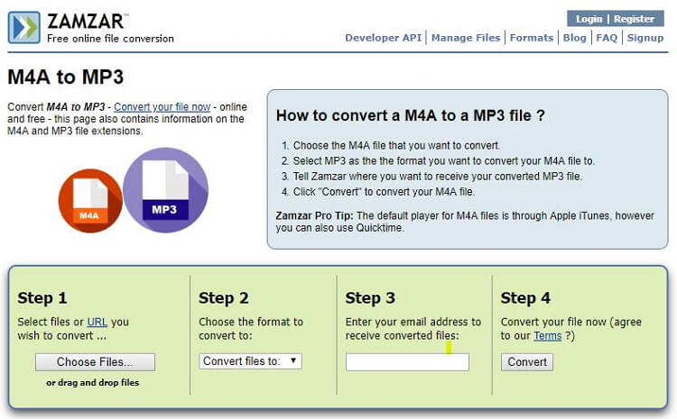 conversione m4a in mp3 gratis onine