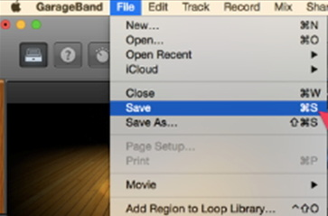 save the created file in garageband