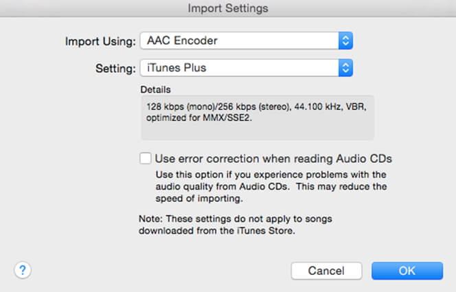 adjust import settings