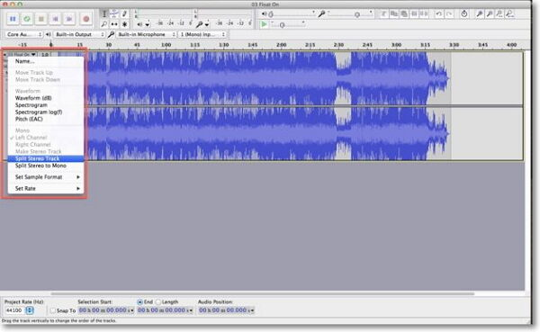 remove mp3 vocal-split a stereo track