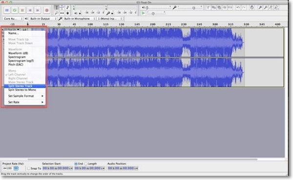 remove mp3 vocal-split a stereo track