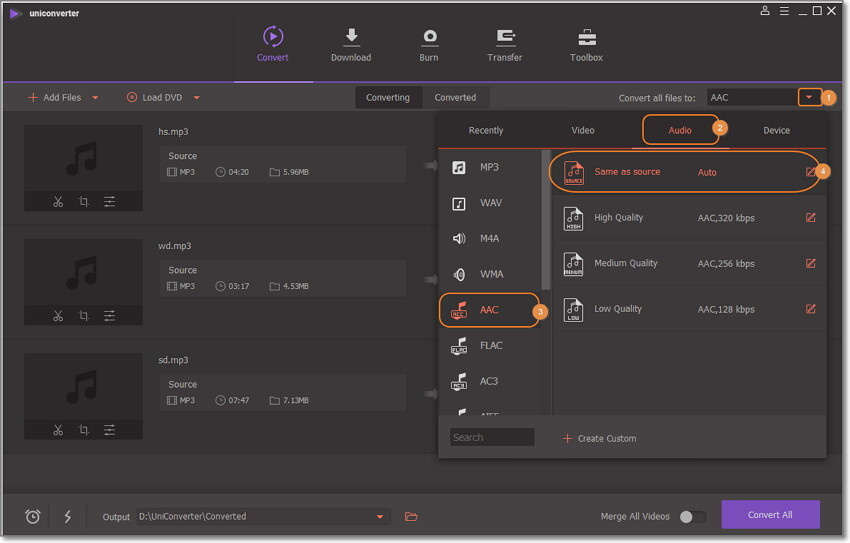 choose mp3 as output in wondershare uniconverter