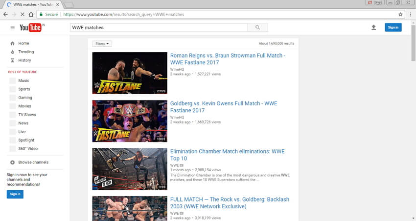 WWE-Matchvideos in MP4 herunterladen - Youtube