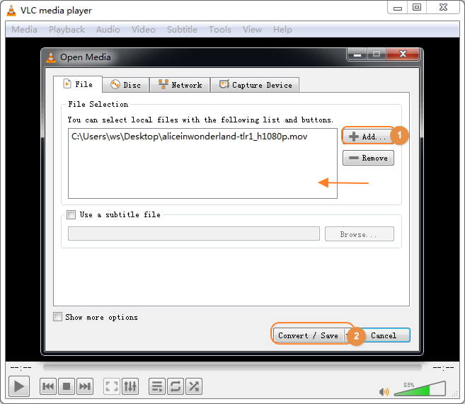 add MOV file to VLC Media Player