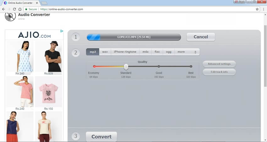 Convert MP4 to MP3 with Online Audio Converter