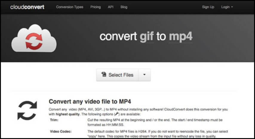 Mit CloudConvert GIF in MP4