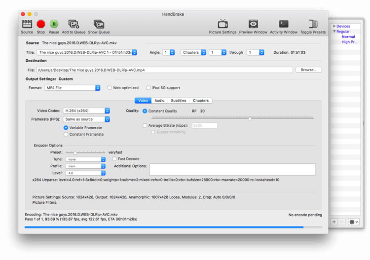Handbrake iTunes films naar MP4 conversie
