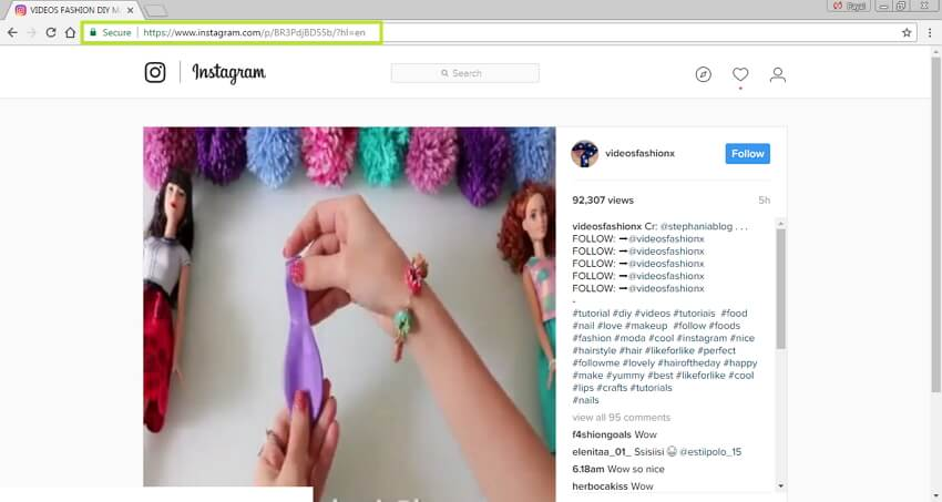 Convert Instagram to MP4 - Select Instagram URL