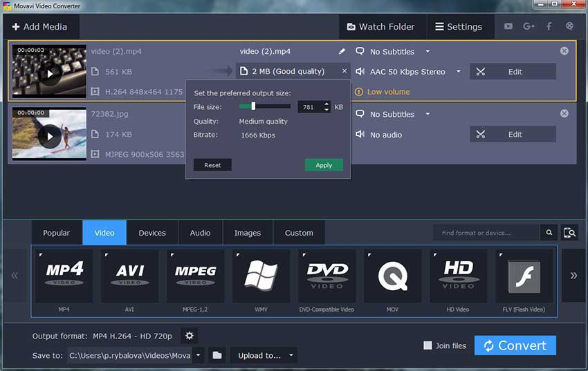 Movavi Video Converter to convert DAT to MP4