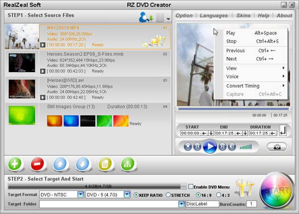 MP4 to DVD burner - RZ DVD Creator