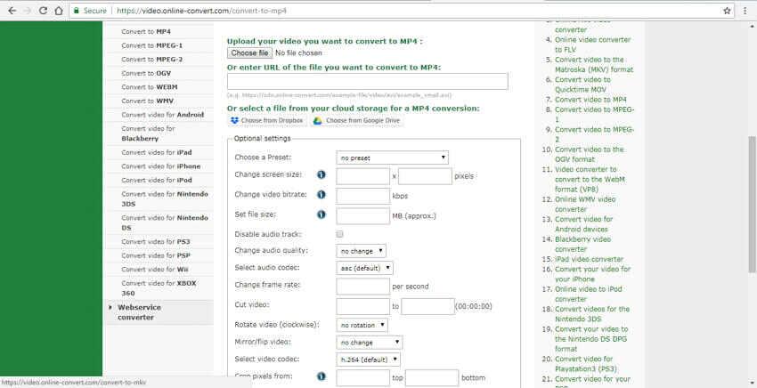 convertisseur url en MP4 Online Convert